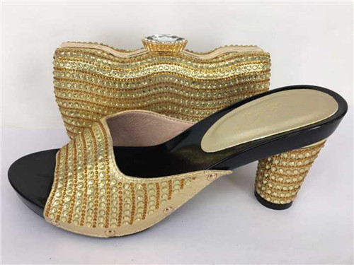 ФОТО Italian Matching Shoe and Bag Set African Wedding Shoe and Bag Set High Quality Italian Matching Shoes with Bags TH31 Gold Color