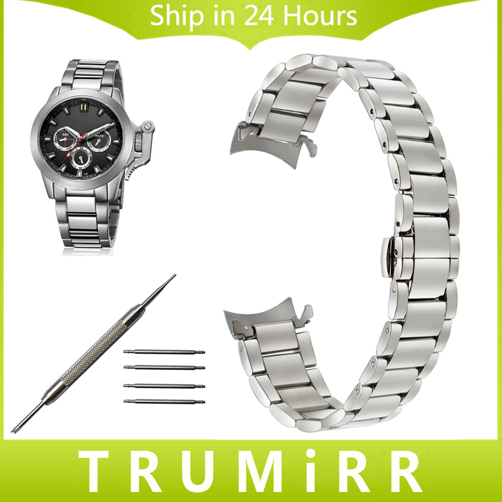 Curved End Stainless Steel Watchband 20mm 22mm for Jeep Men Women Watch Band Butterfly Buckle Strap Wrist Bracelet Silver Black watchband stainless steel metal watch bands curved end 18mm 20mm 22mm 24mm silver black for common men watches safety buckle new