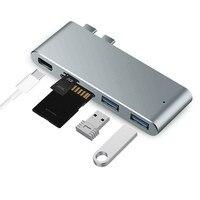 Ouhaobin Dual Type C naar 2 USB Hubs USB 3.0 SD TF Kaartlezer Opladen 5in1 Adapter voor Macbook Pro DE14 dropship