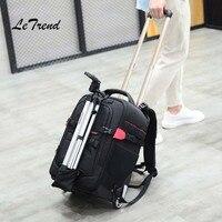 Letrend фотография дорожная сумка Плечи Многофункциональный рюкзак высокой емкости прокатки камера для багажа/ноутбука сумки чемодан на коле