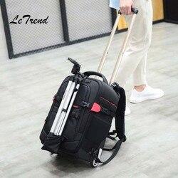 Letrend fotografia podróży torba ramiona wielofunkcyjny plecak o dużej pojemności Rolling przechowalnia kamera/torby na laptop walizka koła