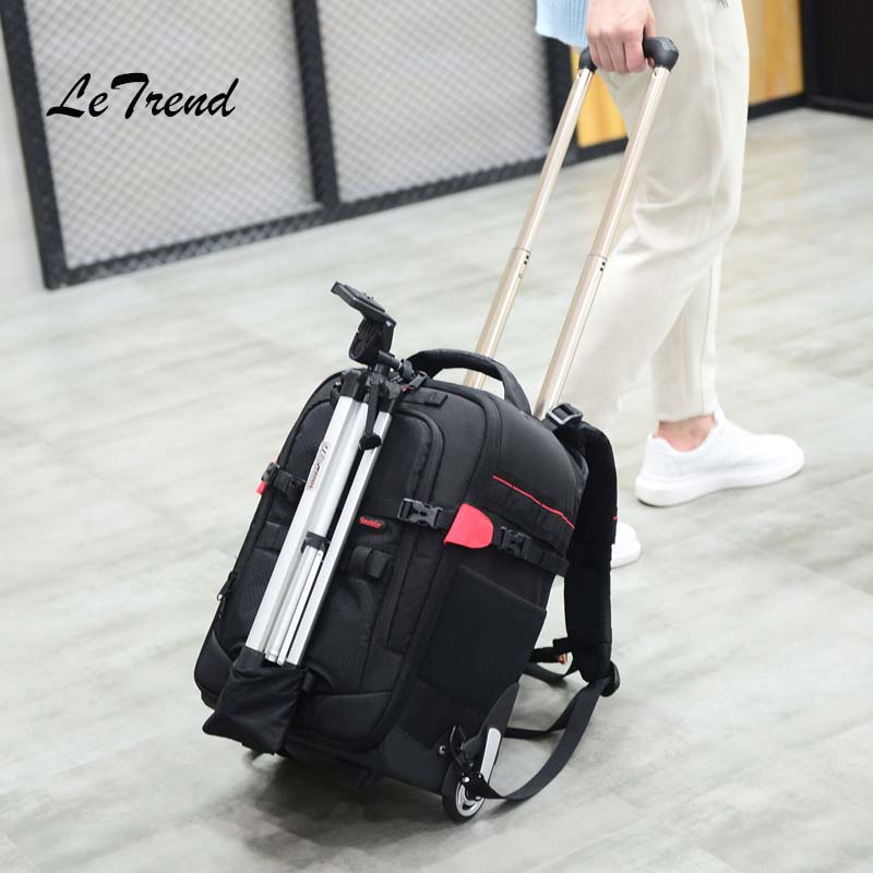 Letrend photography Travel Bag Shoulders Multifunction Backpack High-capacity Rolling Luggage Camera/laptop bags Suitcase Wheel