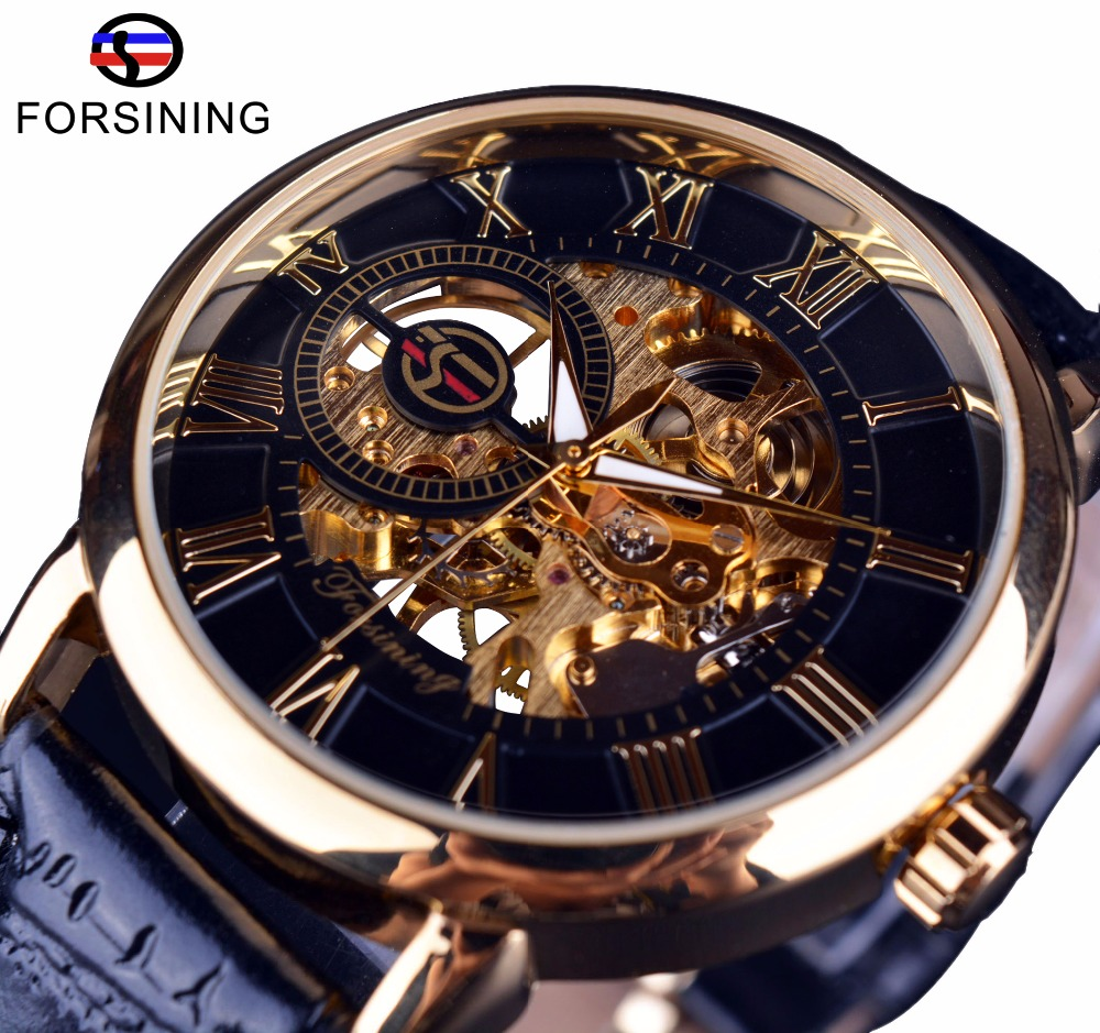 Mechanical Skeleton Watch Black Golden 3D Literal Design Roman Number Black Dial Clock