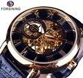 Forsining для мужчин часы лучший бренд класса люкс механические часы со скелетом черный Золотой 3D Eral льный дизайн Римский номер черный цифербла...