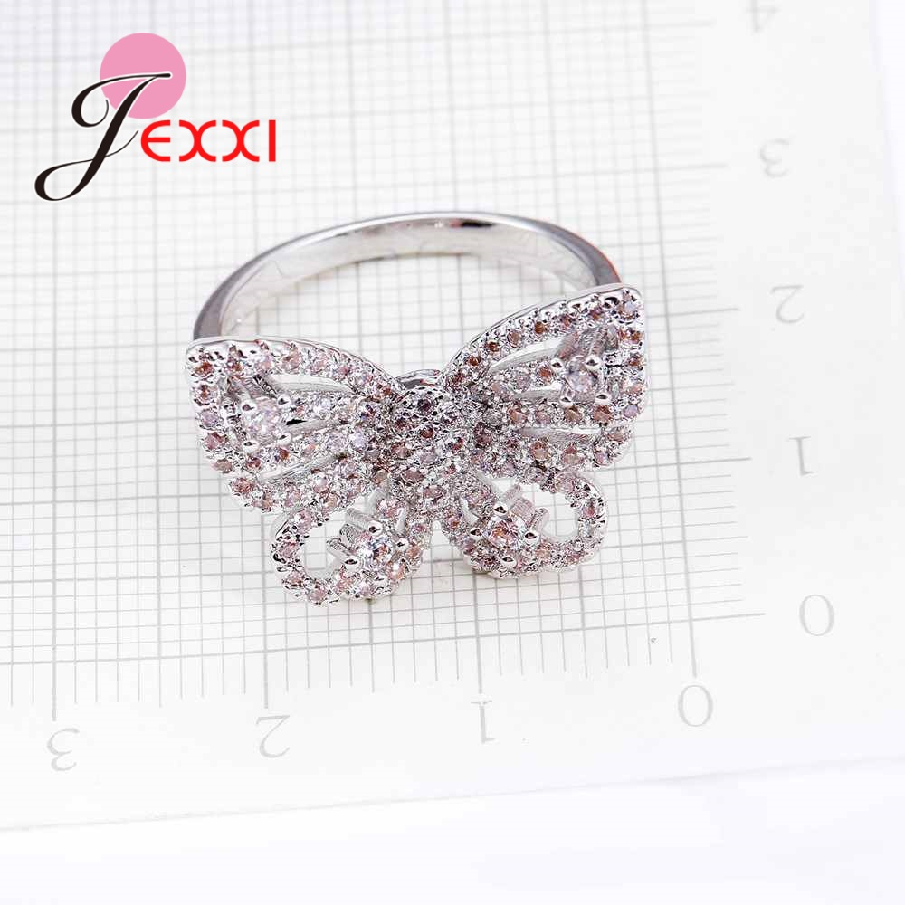 JEXXI Butterfly Shape Fashion 925 Sterling Silver Cubic Zirconia Rings For Women Girl Party Birthday Gift Engagement Rings