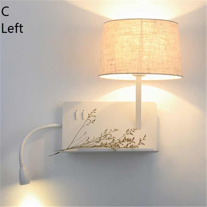 Простой Стиль с USB переключатель современный светодиодный настенные светильники узнать прикроватные тумбочки, настенные бра абажур из ткани Металлический Настенный бра домашнего освещения
