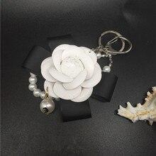 CX-Shirling Male&Female Car Bag Keychain White Camellia Flower Women Charm Key Chain Decoration Jewelry
