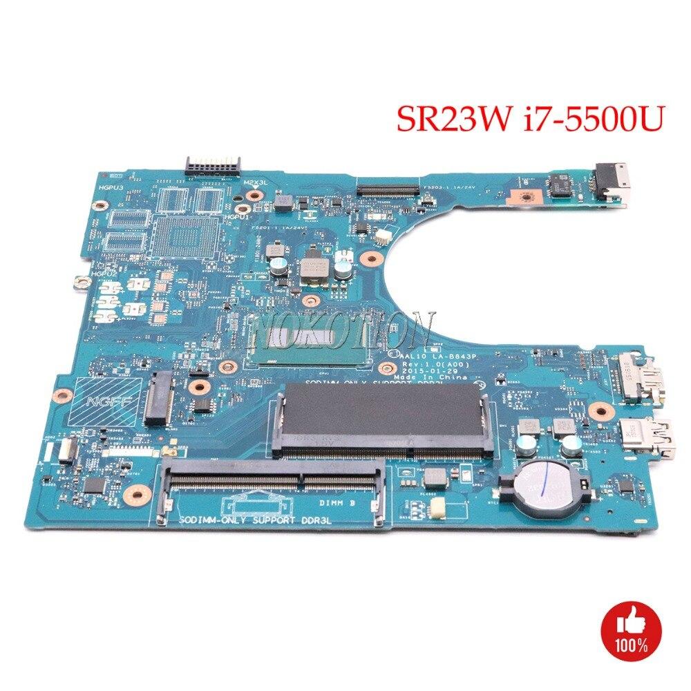 NOKOTION CN-0RC3PN 0RC3PN RC3PN AAL10 LA-B843P для Dell Inspiron 5458 5558 5758 материнская плата для ноутбука SR23W i7-5500U Процессор основная плата