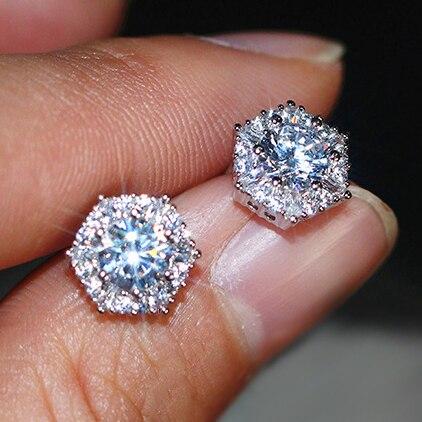 Luxury Female Crystal White Zircon Stud Earrings Simple 925 Sterling Silver Hexagon Earrings For Women Vintage Double Earrings(China)