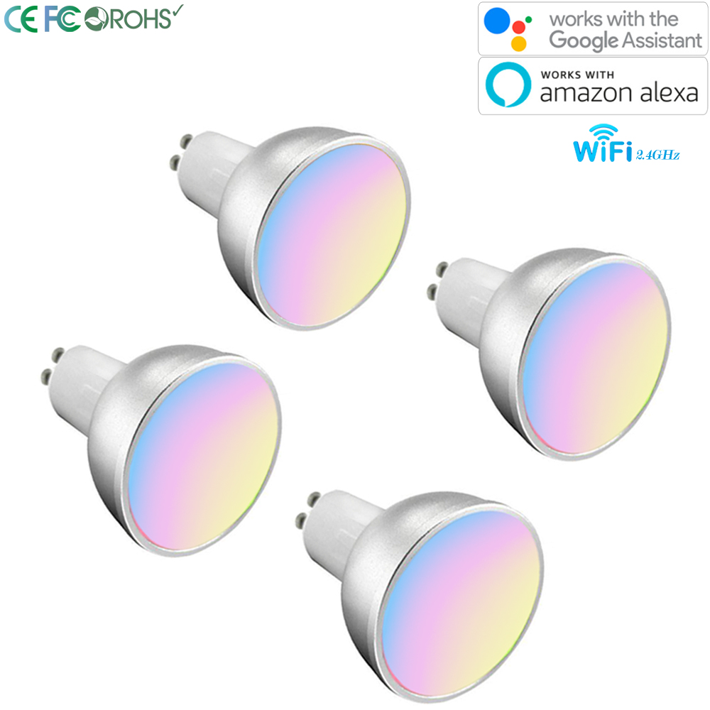 Smart WiFi Light Bulbs GU10 Multicolor Dimmable RGBW Work With with Alexa Google