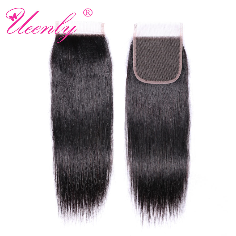 UEENLY 10 Pcs/Lot Brazilian Straight 4*4 Lace Closure Middle/Free/Three Part Natural Color Remy Human Hair Closure 8-20 Inches