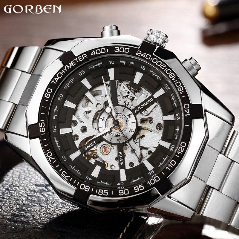 Luxury Silver Automatic font b Mechanical b font Men Watch Skeleton Stainless Steel Bracelet Self wind