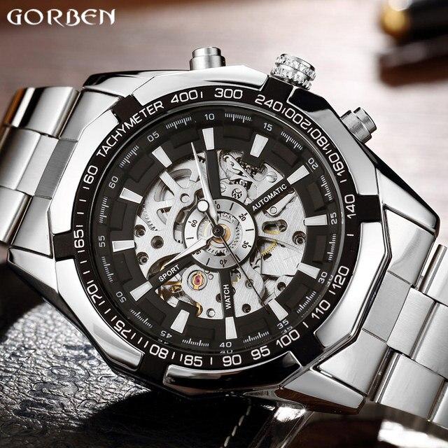 ddf6e590ecc Prata luxo Homens Relógio Pulseira de Aço Inoxidável Esqueleto Mecânico  Automático Auto-vento Relógio De