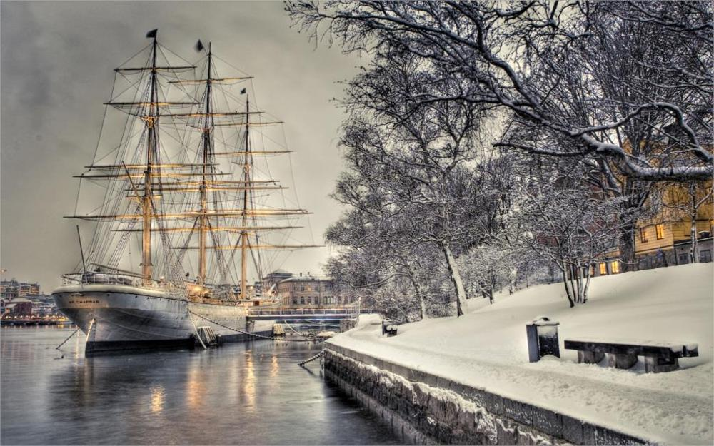Living room home wall decoration sill fabric poster sailboat dock quay snow hdr ship boat winter bench