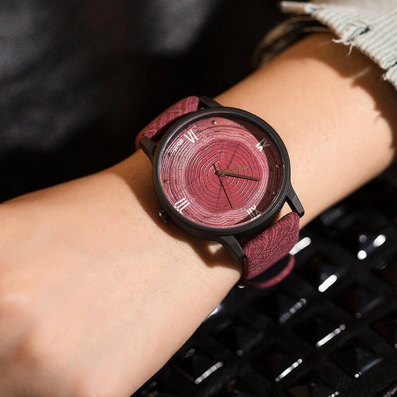 FEIFAN Wooden Watch Clock Woman Quartz Retro Black Vintage Casual Fashion Simple Brand
