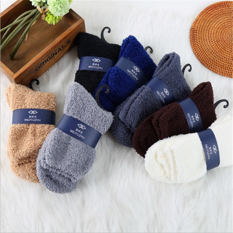 Wool Cashmere Winter Men Thicken Socks Snow Winter Warm Fluffy Bed Floor Chaussette Solid Color Men Socks Floor Sleeping Socks
