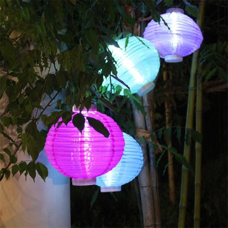 Aggressive Solar Powered Hanging Lantern Light Waterproof Chinese Nylon Fabric Lantern For Wedding Party Home Garden Decoration