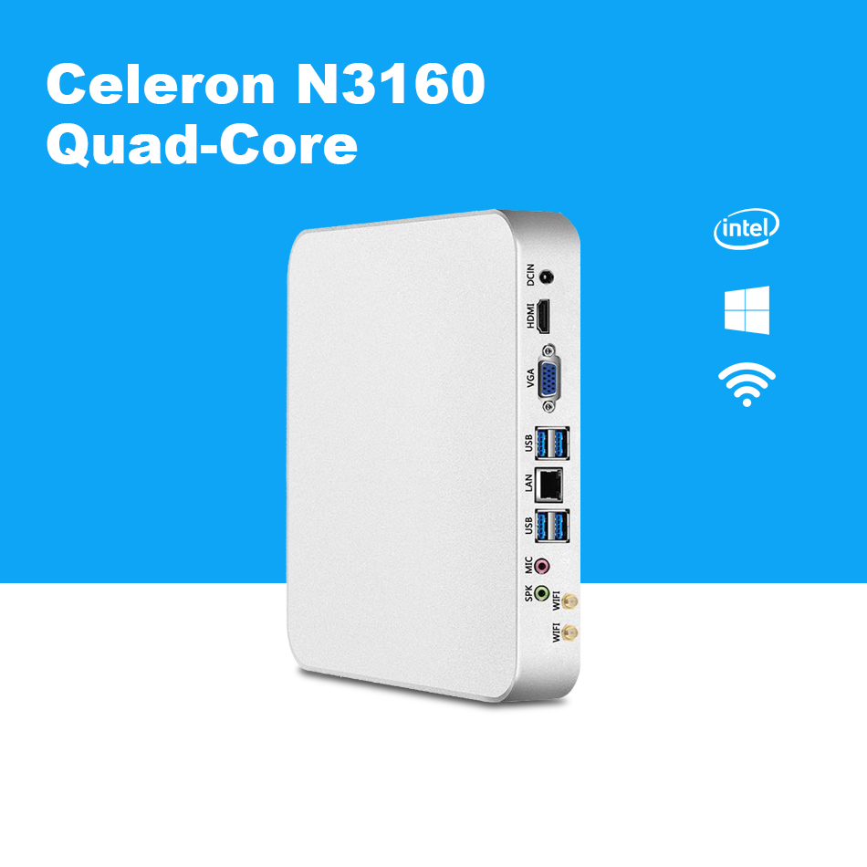Quad Core Mini PC Intel Celeron N3160 Windows 10 HTPC HDMI VGA 300M WiFi TV BOX Barebone Mini Desktop PC