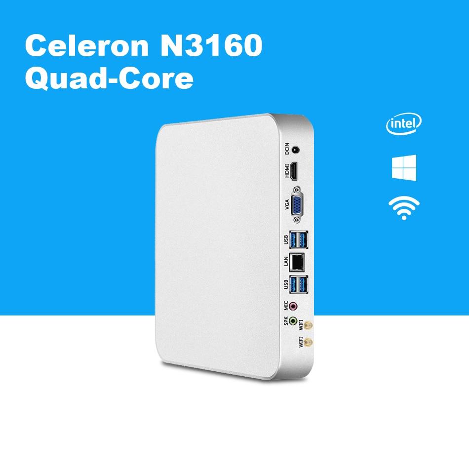 Quad Core Mini PC Intel Celeron N3160 Windows 10 HTPC HDMI VGA 300M WiFi TV BOX Barebone Mini Desktop PC