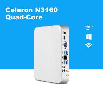 4 ядра мини-ПК Intel Celeron N3160 Windows 10 HDMI HTPC VGA 300 M Wi-Fi ТВ коробка Barebone Миниатюрный Настольный ПК безвентиляторная коробка PC