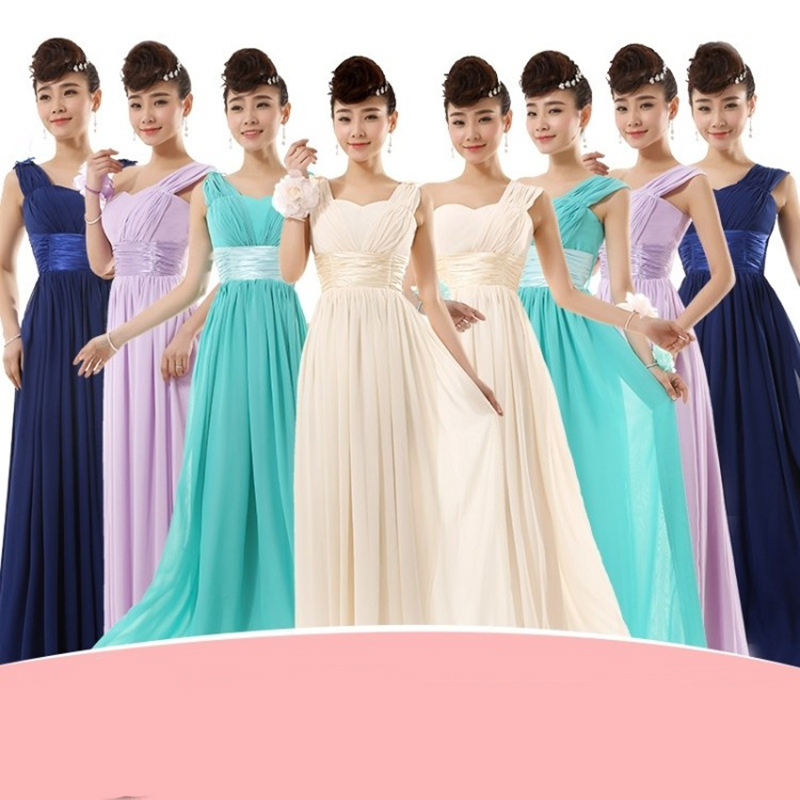 Custom made Bridesmaid Dress Long Design Sister Bridal Married bridesmaid Dress Gown Chiffon Beach Vestido De Festa LC1130M