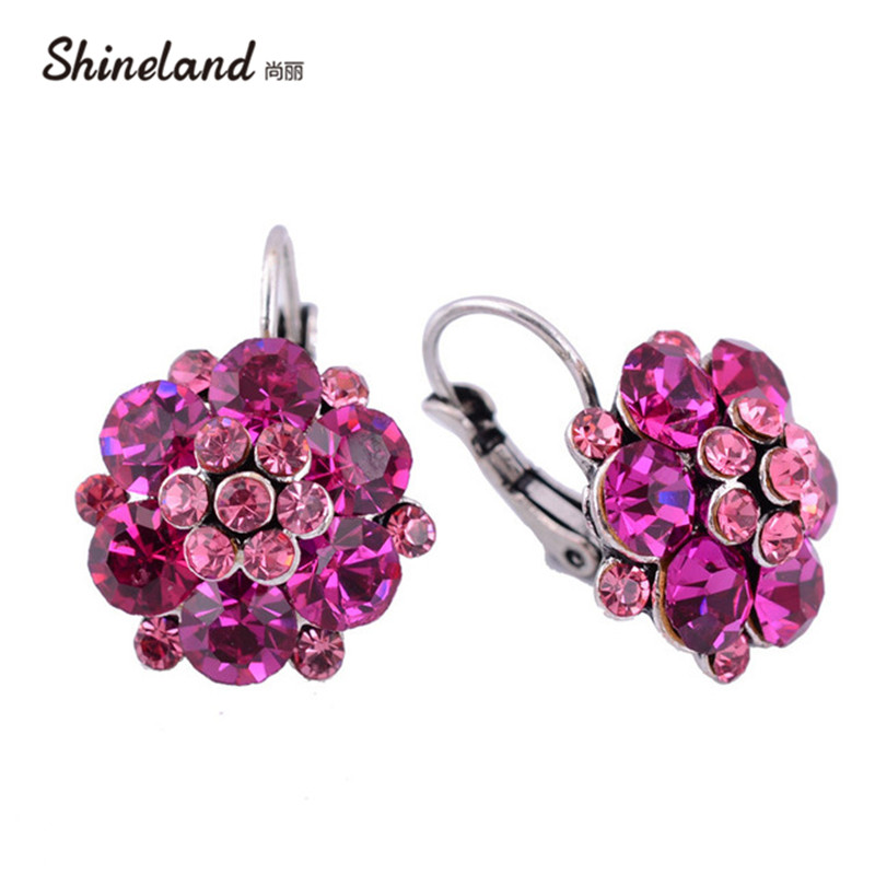 Shineland Clip On Earrings For Women Fashion Accessories Bijoux Trendy Multi Crystal Rhinestone Statement Bohemain Jewelry Gift