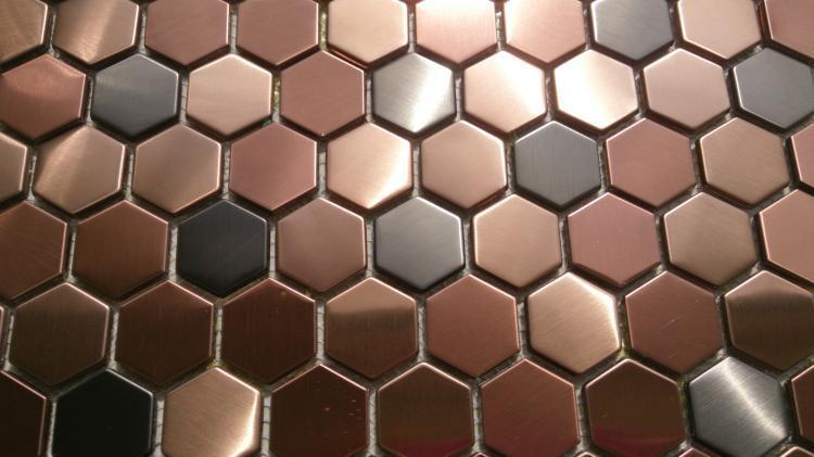 Copper Metal Tiles Kitchen
