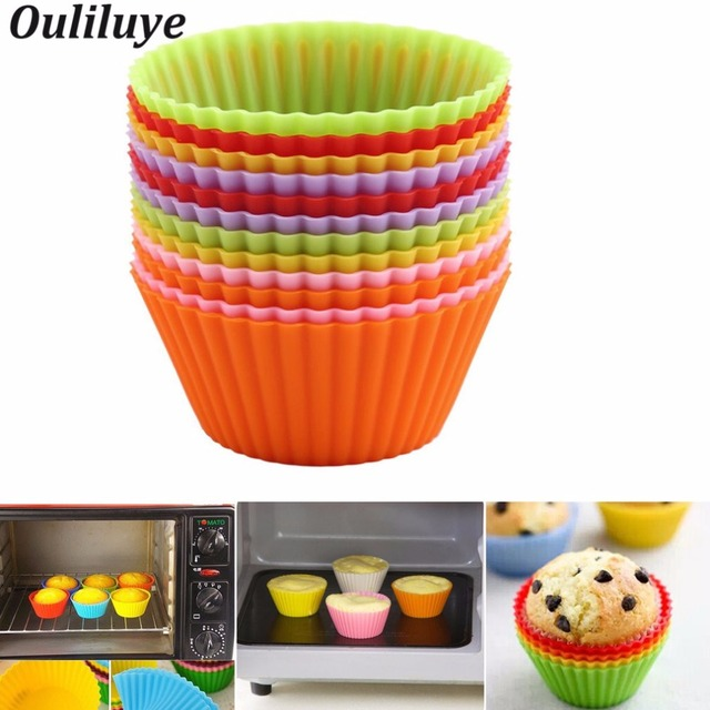 New 12/6/1PCS Silicone Muffin Cake Cups for Kitchen Baking Tool Baking Cup Forms for Cupcakes and Muffin Bakeware Silicone Mold
