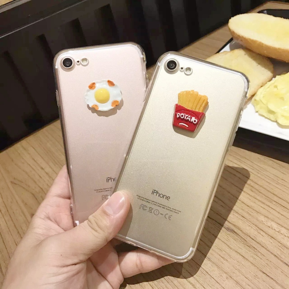 designer fashion 9fbc8 d340c US $3.99 |High Quality 3D Case French Fries Potato Poached Egg Food Phone  Case For Iphone 6 6s Plus 7 7Plus Transparent Back Case Cover-in Fitted ...
