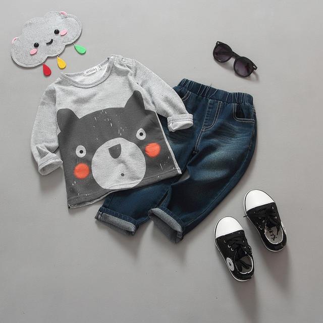 Varejo 2015 Novas Crianças de algodão crianças bebê meninos meninas primavera outono 2 pcs conjunto de roupas Padrão terno shirt + calças do bebê conjuntos