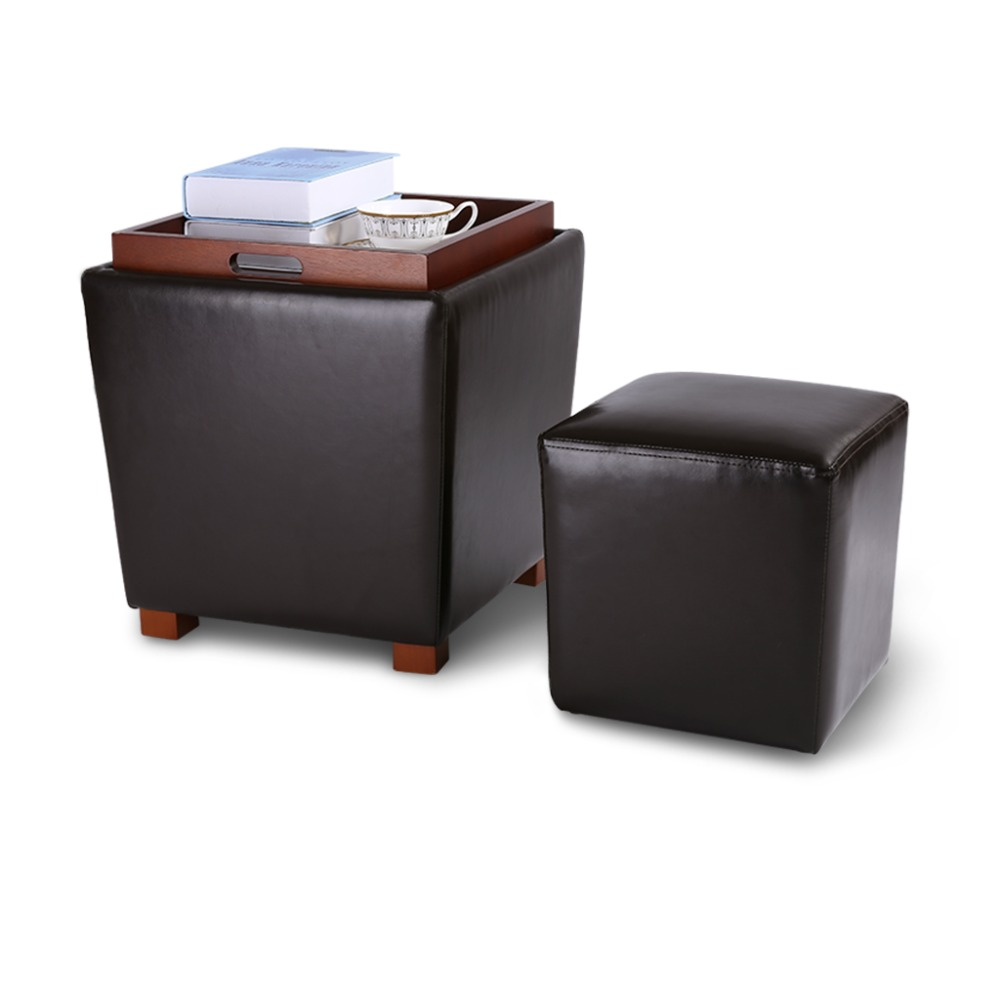 Langria 2pcs Nesting Faux Leather Upholstered Set With