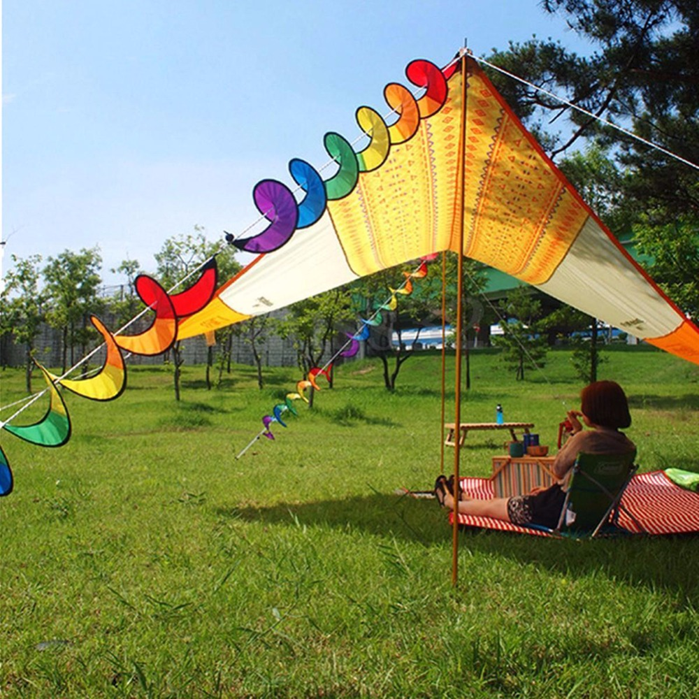 Lawn windmills ornamental - Cloth Rainbow Spiral Windmill Garden Ornaments Tent Colorful Wind Spinner Garden Home Decorations China