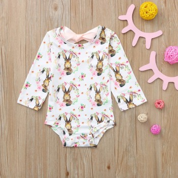 MUQGEW Newborn Baby clothes Romper Girls Bow Cartoon Rabbit Print Romper  Outfits roupa de menina vetement enfant fille Baby Rompers