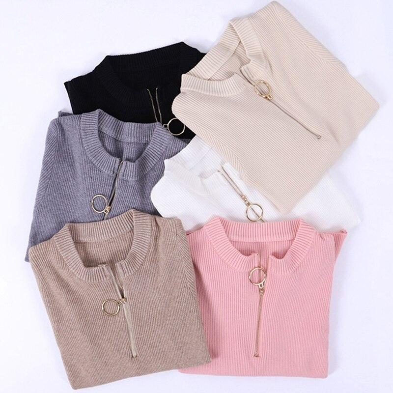 1 Pc New Fashion Zipper Frühling Oansatz Bodenbildung Gestrickte Pullover Frauen Hohe Elastische Solid Pullover Schlank Engen Pullover Tops