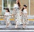 Соответствующие мать-дочь одежды летний стиль матери-дочери соответствующие платья мама и дочь платье хлопок семья одежда