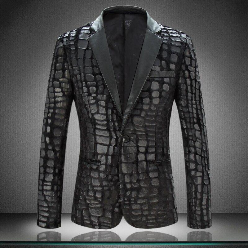Le nouveau costume de velours hommes pression peau costume veste personnalité tendance petit costume de mode grande taille veste de costume hommes