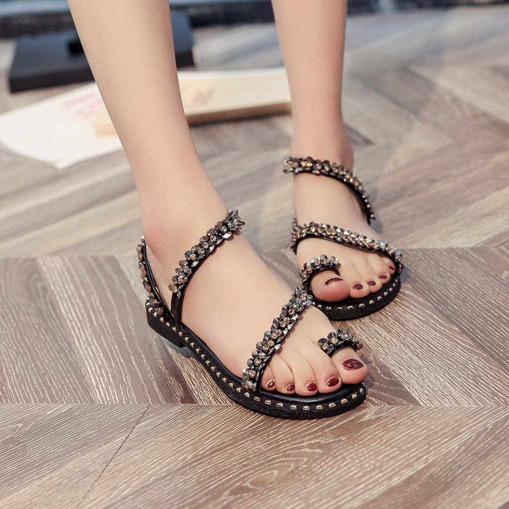 8c5fe9752eb09 YOUYEDIAN Women Flat Sandals 2019 Crystal Gladiator Sandals Women Bling  Summer Beach Shoes Casual Ladies Sandals