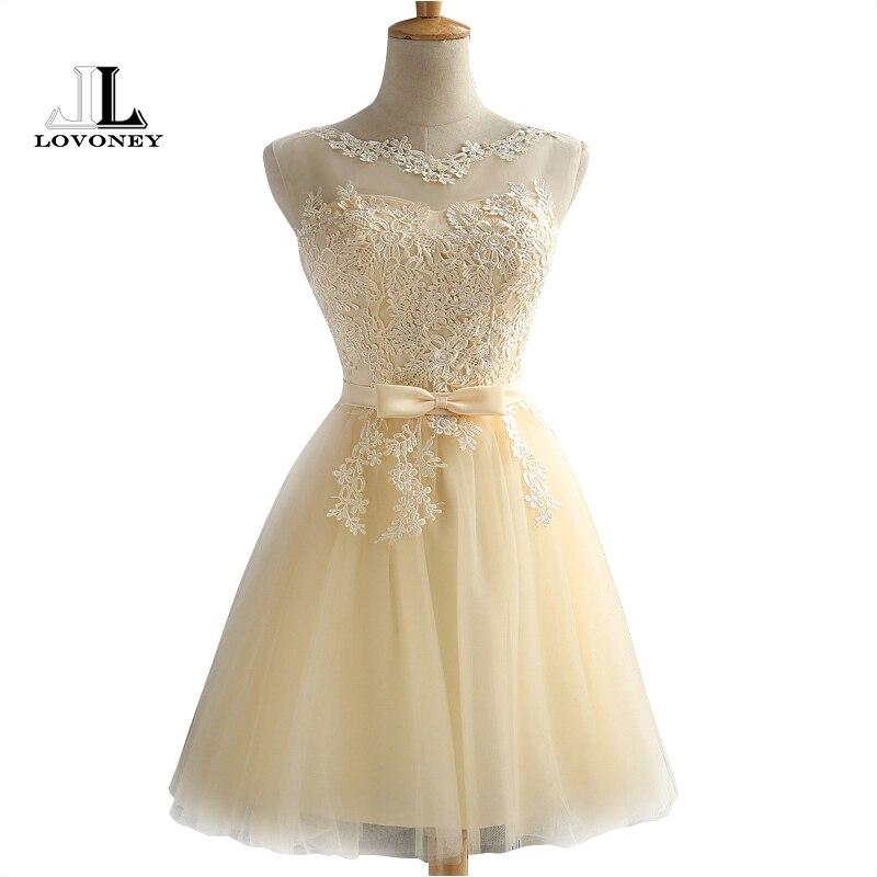 LOVONEY Robe קוקטייל המפלגה שמלת 2017 אלגנטי ללא משענת קצרה קוקטייל שמלות מתכווננת תחרה עד בחזרה לנשף שמלת CH604B