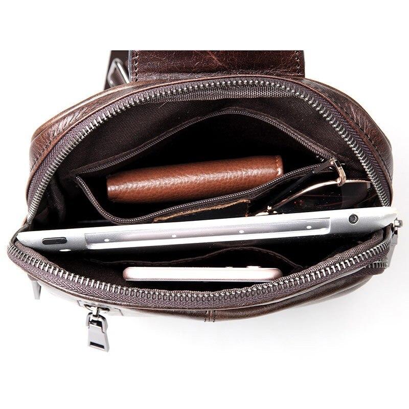 Engagement & Wedding Patchwork Men Genuine Leather Chest Bag Back Pack Mens Messenger Bags Vintage Unbalance Male Shoulder Sling Bag Li-1587