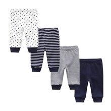 2020 Newborn Boys Girls Baby Pants 100%Cotton Soft Unisex Infant Baby Stripe Trousers Mid Elastic Waist 3-24M Cartoon Baby Pants