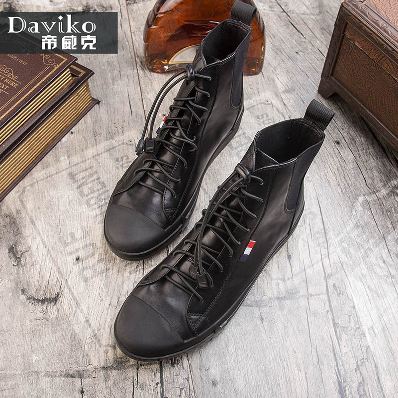hot 2017 authentic men s boots british tide martin boots men s leather boots leather boots lovers scooter 34 45 Fashion Martin boots male leather boots trend British high help board shoes men winter sports wind youth boots men 1689