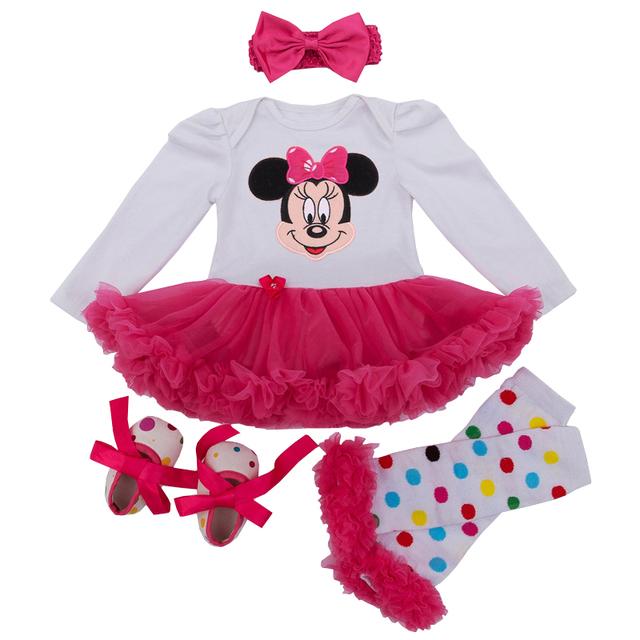 Macacão de bebê Minnie Mickey Vestido roupas de Bebe 4 pçs/sets menina primeiro Aniversário Do Bebê romper vestido de Ano Novo presente bebe primeiro macacão