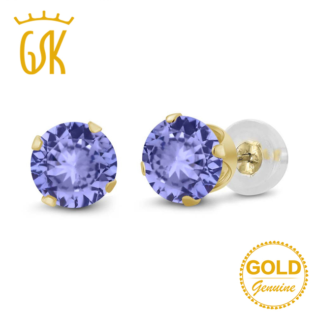 Tanzanite Jewelry 0 92 Ct Round 5mm Natural Blue Stud Earrings 14k Yellow Gold Fine
