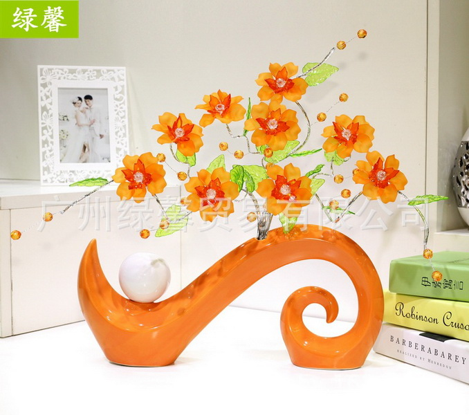 Green Ornaments For Living Room Part   34: Creative Home Decorations Ornaments  Living Room Modern Minimalist Acrylic Crystal Flower Vase Ceramic Crafts ... Part 29
