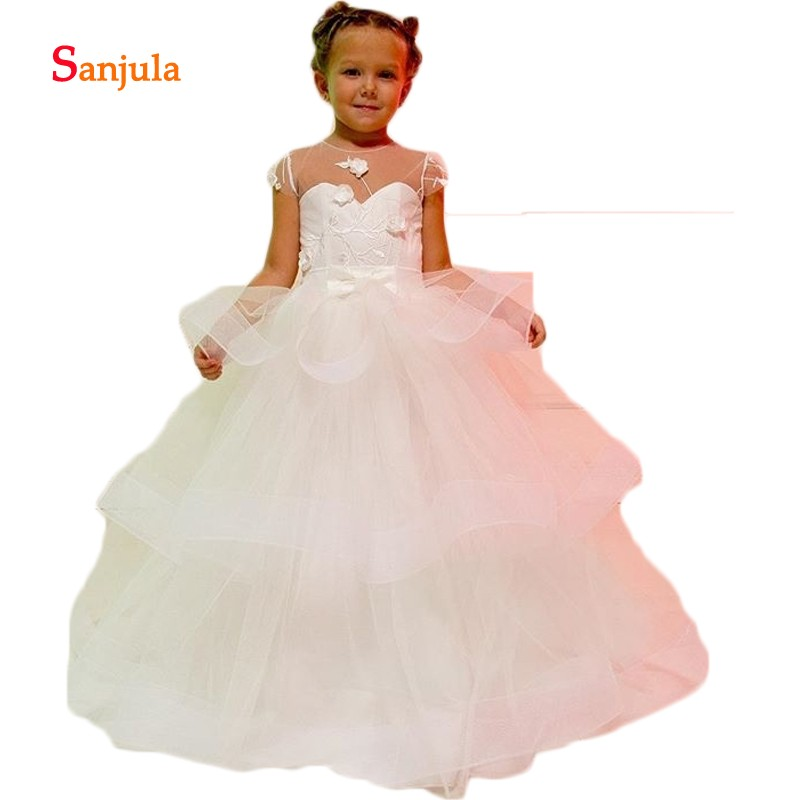 Illusion O-Neck Puffy Ball Gown   Flower     Girls     Dresses   Tiered Skirt Child Pageant Party   Dress   Cap Sleeve bloemenmeisjes D329