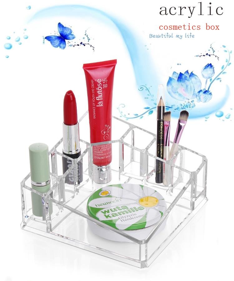 Clear Makeup Cosmetic Organizer Bag Jewelry Storage Crystal Desktop Makeup Box office organizer