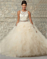 2 Piece Quinceanera Dresses Ball Gowns Coral Beige Tulle Lace Quinceanera Dresses 15 Years With Scarf Sleeveless