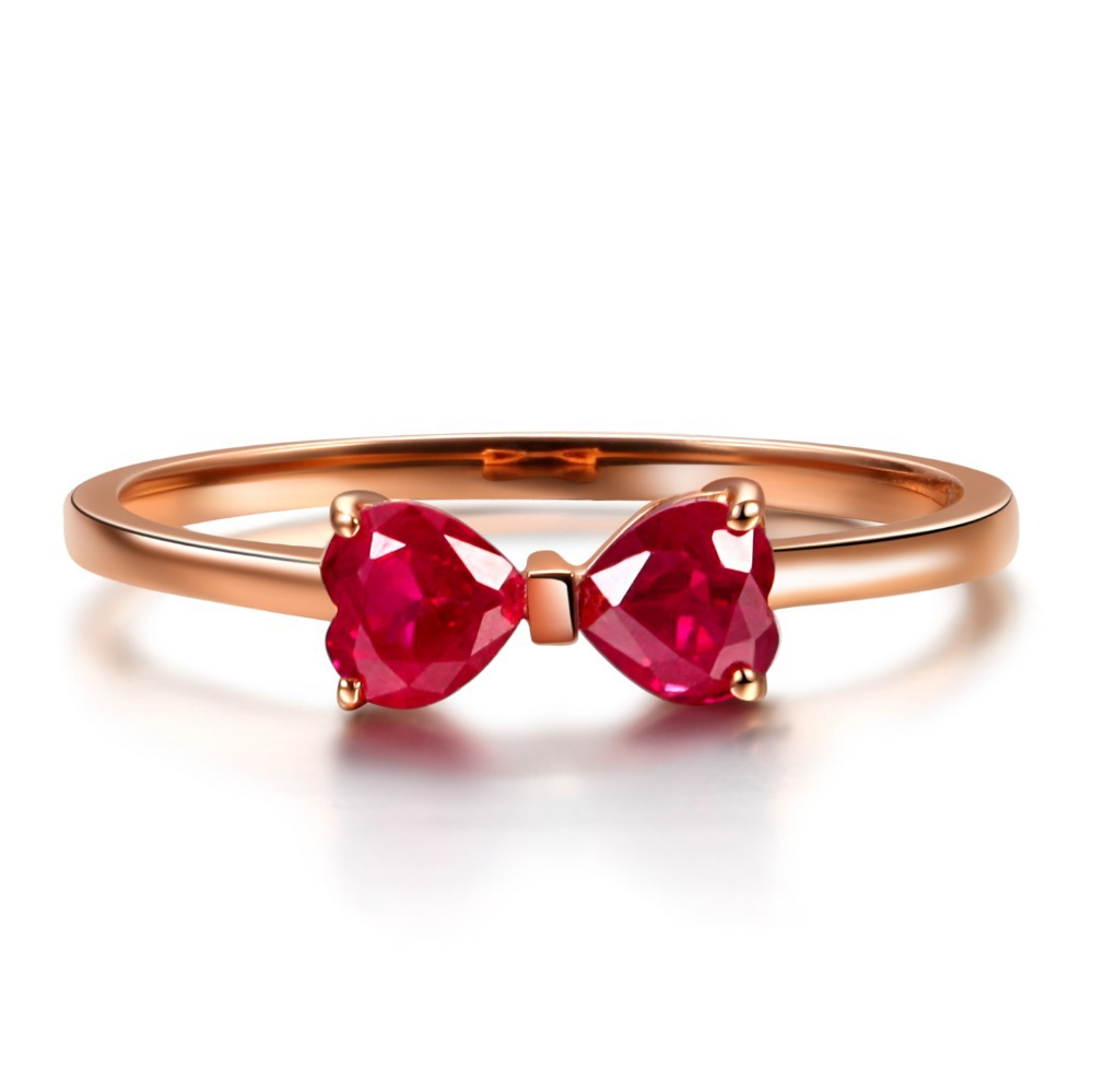 GVBORI 18K Rose Gold Natural Two Heart Ruby Gemstone Ring For Women