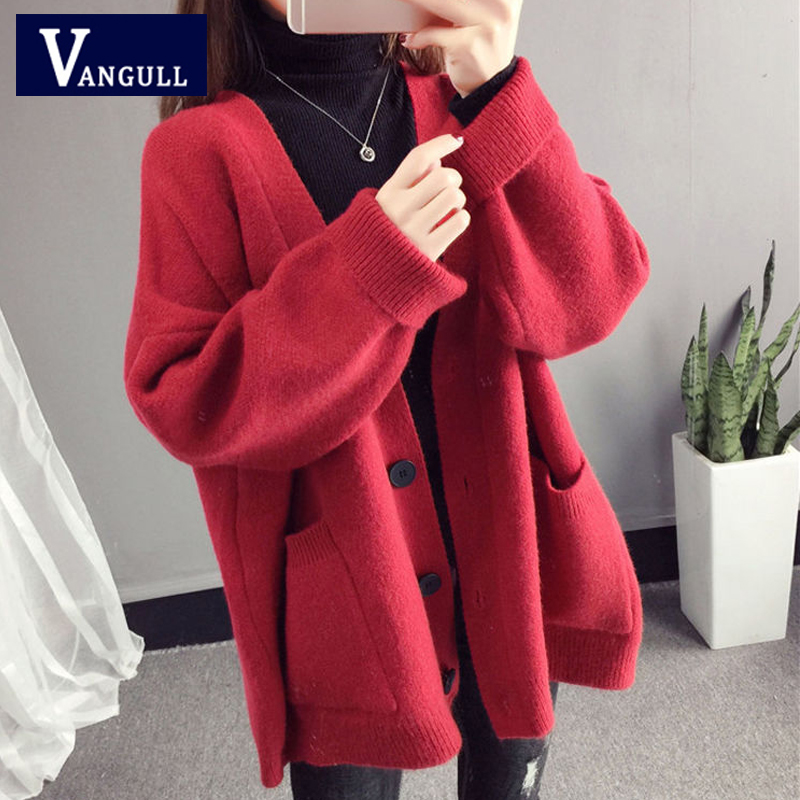 Vangull Women Knitted Sweaters Casual Loose Female Single Breasted Cardigans 2019 Autumn Winter Thick Bawing Sleeve Sweaters