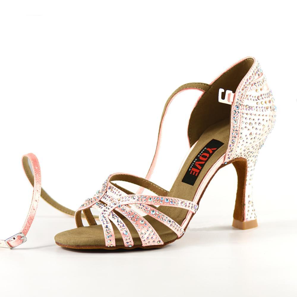 YOVE Style w1904-1 chaussures de danse Bachata/Salsa intérieur et extérieur chaussures de danse pour femmes avec strass - 4